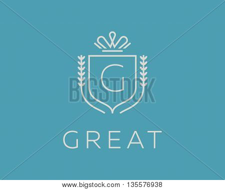 Elegant monogram letter G logotype. Premium crest logo design. Shield, royal crown symbol. Print, t-shirt design shape