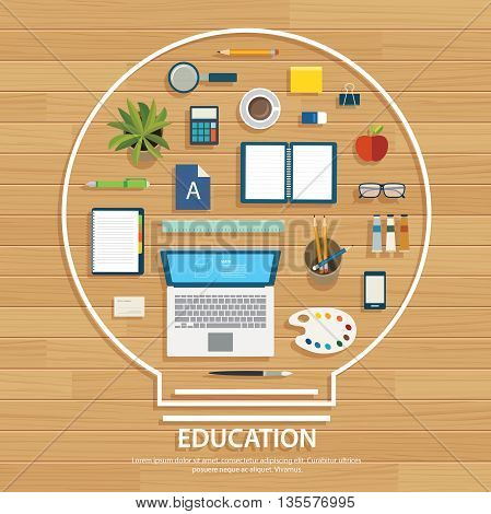 education and learning background on light bulb shape