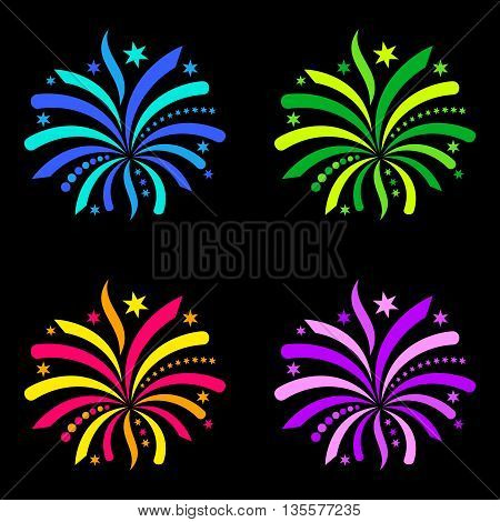Colorful vector firework design elements isolated on black
