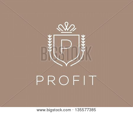 Elegant monogram letter P logotype. Premium crest logo design. Shield, royal crown symbol. Print, t-shirt design shape
