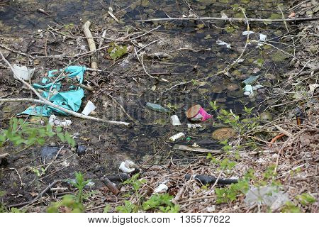 Rotting Pond Filled With Waste And Packaging