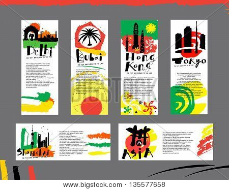 Card and illustration cities of Asia to print. India, China, Japan, Islands in Southeast Asia, the middle East.