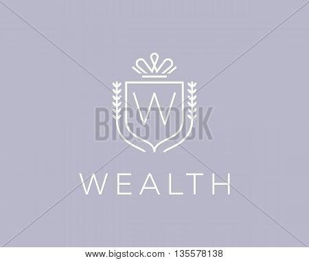 Elegant monogram letter W logotype. Premium crest logo design. Shield, royal crown symbol. Print, t-shirt design shape