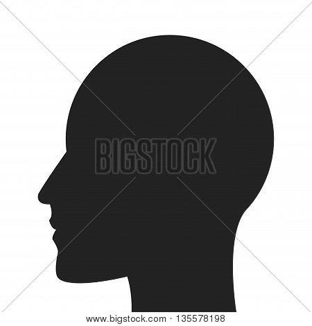 grey silhouette of human head profile vector illustration