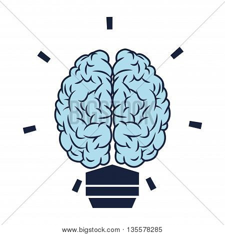 flat design blue brain lightbulb icon vector illustration