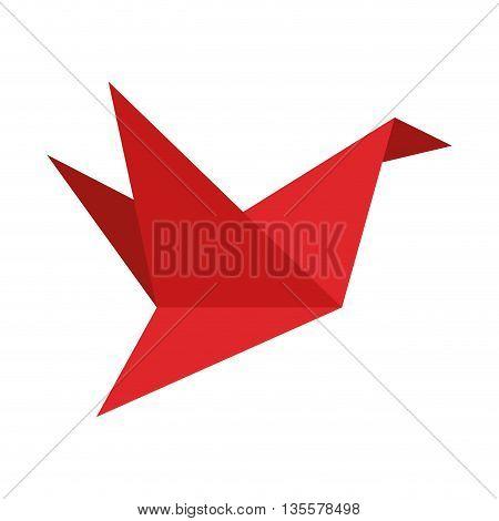 flat design of red origami crane icon vector illustration