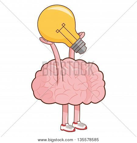 flat design brain lightbulb icon vector illustration