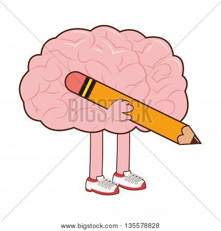 flat design of human brain holding a pencil icon vector illustration