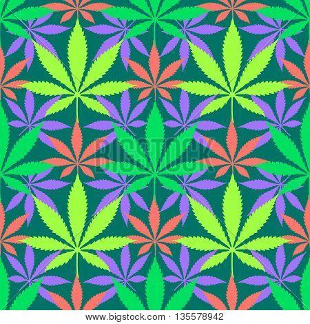 Cannabis Marijuana Leaves Seamless Pattern.