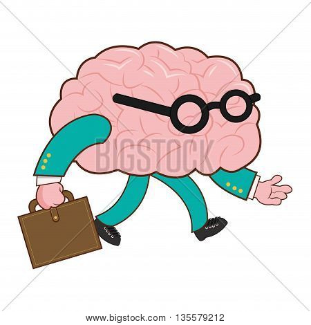 flat design of human brain wearing and glasses holding briefcase icon vector illustration