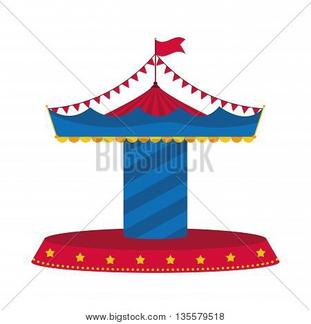Circus and carnival concept represented by carousel icon over isolated and flat background