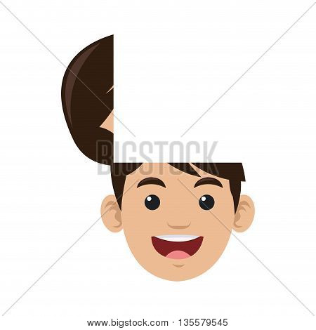 flat design male person with open head vector illustration
