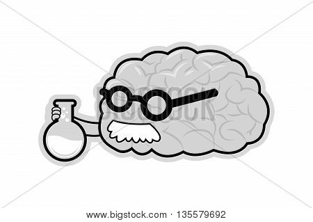 human brain with arms glasses and mustache holding flask with liquid icon vector illustration