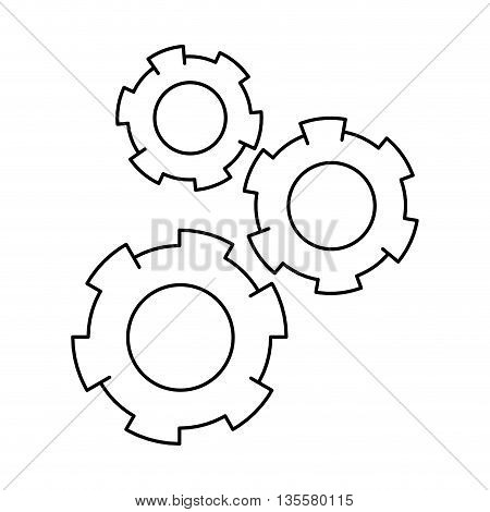 simple grey line three colored gears icon vector illustration