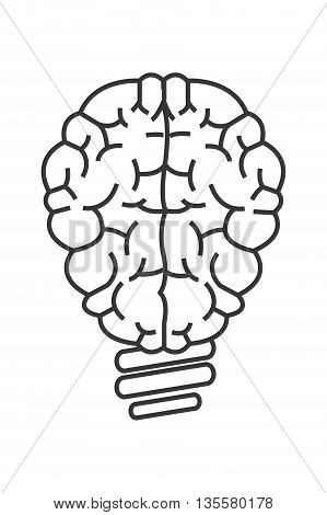 simple line brain lightbulb icon vector illustration