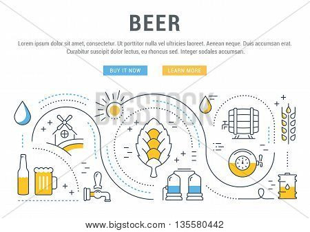 Flat line illustration of beer making wheat cultivation and sale of alcoholic beverages. Concept for web banners and printed materials. Template with buttons for website banner and landing page.
