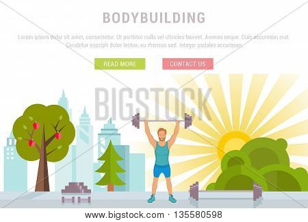 Vector sport illustration banner. Bodybuilding man fitness and sport. Modern isolated illustration city sports. Template with buttons for website banner and landing page. Sport background or template.