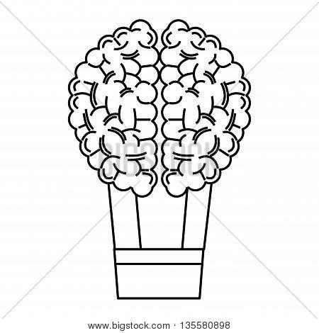 line design of human brain holding basket like hot air balloon icon vector illustration