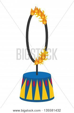 Circus and carnival concept represented by fire ring icon over isolated and flat background