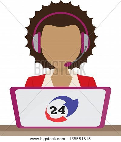 customer support center via phone mail operator service icons concept illustration