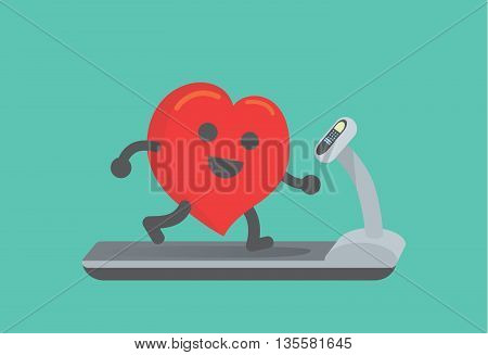 Heart workout with running on treadmill. This illustration about running make healthy heart.