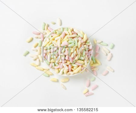 bowl of colored puffed rice