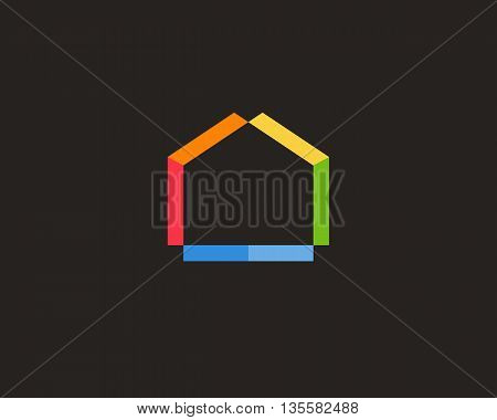 Abstract house logo design template. Colorful real estate sign. Universal home negative space vector icon. Modern realty logotype