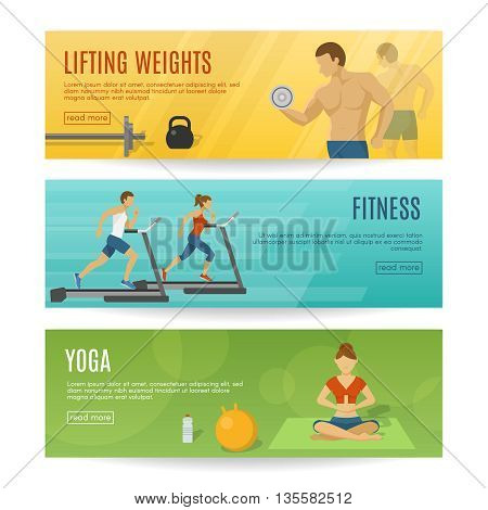 Sportive lifestyle horizontal banners set with lifting weights fitness workout yoga exercises isolated vector illustration