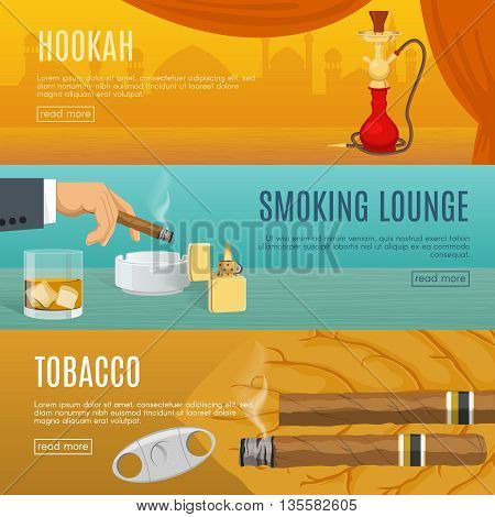 Smoking horizontal banners set with hookah room comfortable lounge tobacco products and accessories isolated vector illustration