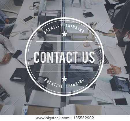 Contact Us Communication Inquiry Information Support Concept