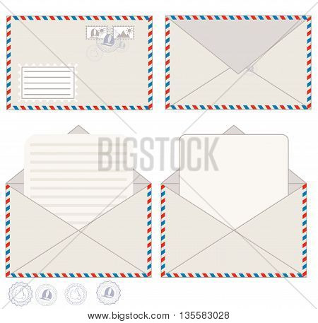 Envelope with blank letter for your message, vector illustration.