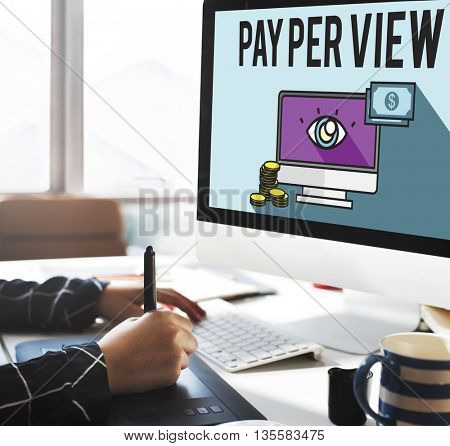 Pay Per View Online Marketing Concept