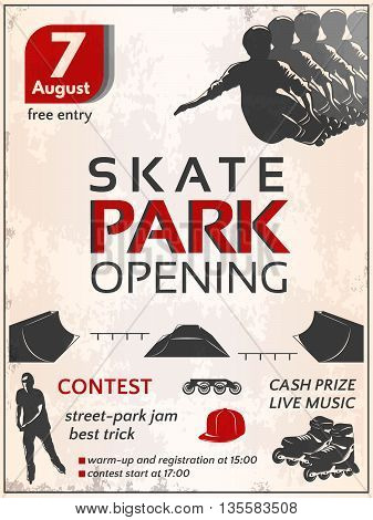 Skate park opening poster with teenagers roller boots wheels sportive equipment on dirty white background vector illustration