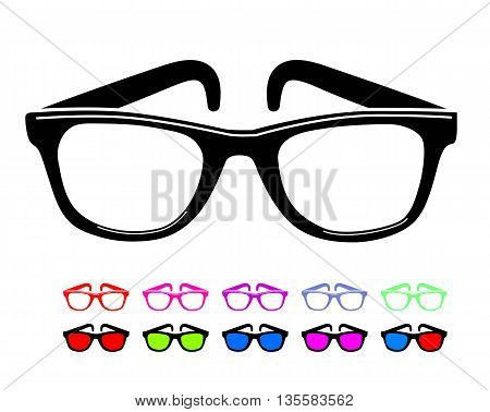 Sunglasses icon in disco style. Vector illustration on white background