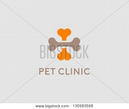 Abstract medical cross pet bones vector logo design template. Animals clinic dog cat doctor logotype