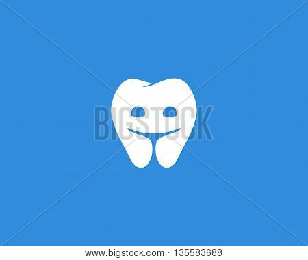 Dentist logo design template. Happy tooth creative symbol. Dental clinic modern sign mark icon