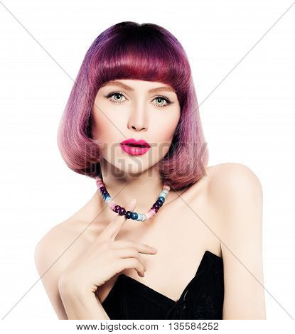 Fashion Woman with Bright Coloring Hair Isolated. Bob Haircut