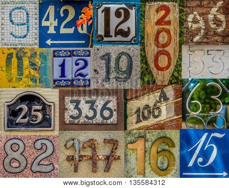 Collage Of Various House Numbers From Around The World Including France UK Netherlands Hawaii Canada And Germany