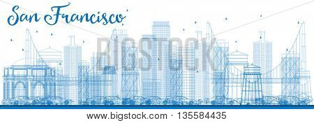 Outline San Francisco Skyline with Blue Buildings. Vector Illustration. Business Travel and Tourism Concept with Modern Buildings. Image for Presentation Banner Placard and Web Site.