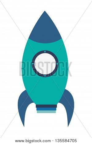 flat design blue toy rocket with round window icon vector illustration
