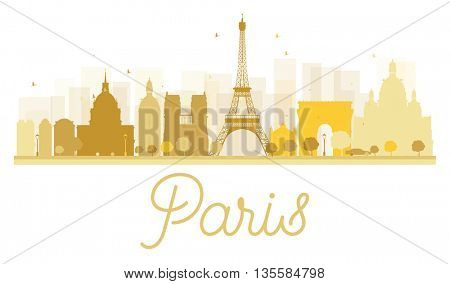 Paris City skyline golden silhouette. Vector illustration. Simple flat concept for tourism presentation, banner, placard or web site. Business travel concept. Paris isolated on white background