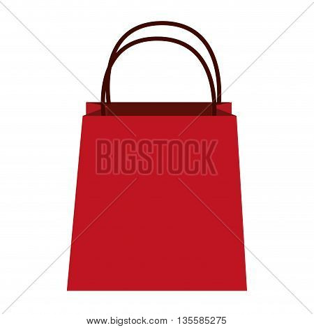 flat design red shopping bag with string handle vector illustration