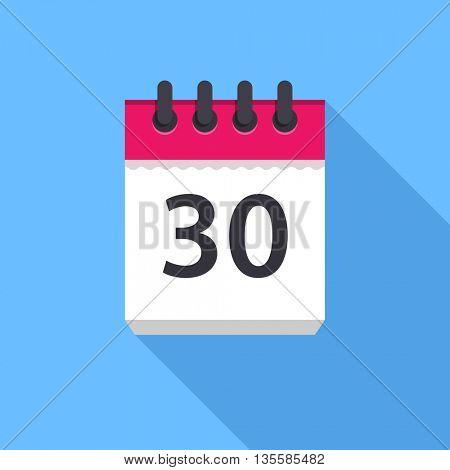 Calendar icon. Flat Design vector icon. Calendar on blue background. 30 day