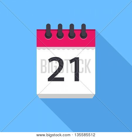 Calendar icon. Flat Design vector icon. Calendar on blue background. 21 day