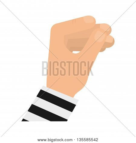 Human hand represented by specific gesture icon over isolated and flat background