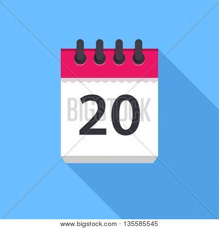 Calendar icon. Flat Design vector icon. Calendar on blue background. 20 day