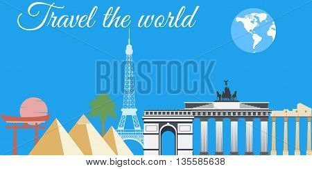 Travel The World, World Landmarks, Travel And Tourism Background. Around The World.