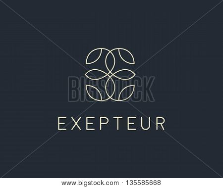 Abstract leaf flower logo icon vector design. Universal creative premium symbol. Graceful fashion boutique vector sign