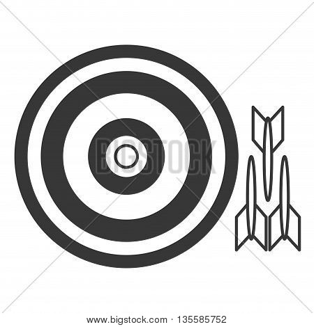 flat design grey striped bullseye with three darts to the side vector illustration