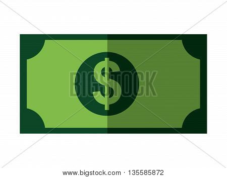 Money represented by bill icon over isolated and flat background